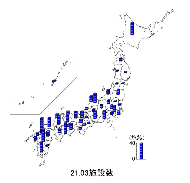 都道府県ごとの施設数を日本地図上に示した図です。
